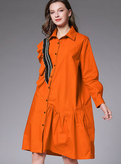 Patchwork Straight Loose T-shirt Dress