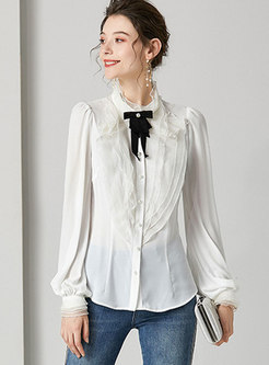 Mock Neck Bowknot Patchwork Blouse