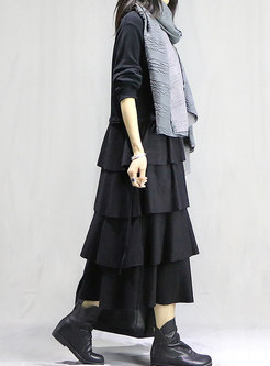 Crew Neck Solid Color Straight Cake Dress