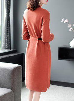 Mock Neck Long Sleeve Drawcord Sweater Dress