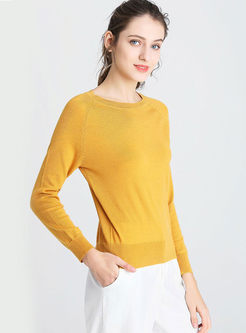 Yellow Pullover Slim Thin Wool Sweater