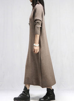 Turtleneck Solid Color Long Sweater Dress