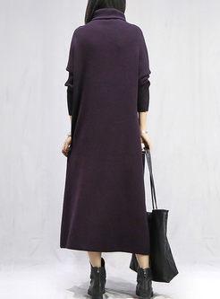 Turtleneck Solid Color Long Sweater Dress