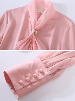 Lantern Sleeve Beading Bowknot Silk Blouse