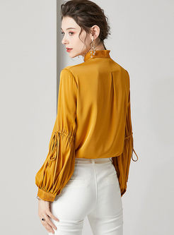Mock Neck Drawcord Loose Silk Blouse
