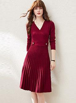 V-neck Waisted Pleated A Line Sweater Dress