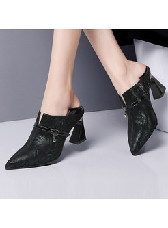 Pointed Head High Heel Leather Shoes