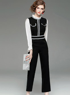 Mock Neck Patchwork Straight Rompers
