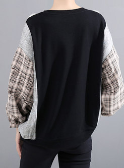 Crew Neck Lantern Sleeve Patchwork Sweatshirt