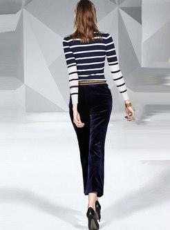 Turtleneck Striped Top Pant Suits