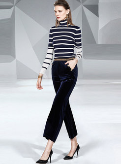 Turtleneck Striped Top Pant Suits