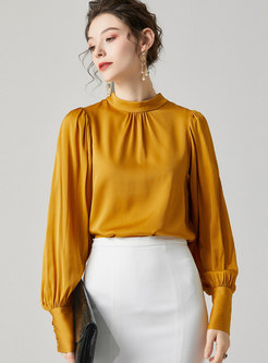 Solid Color Mock Neck Loose Blouse
