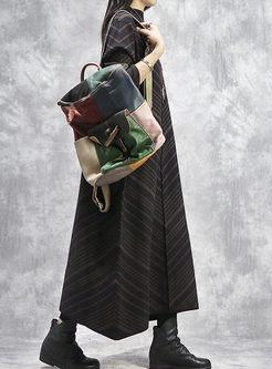 Turtleneck Striped Long Loose Sweater Dress