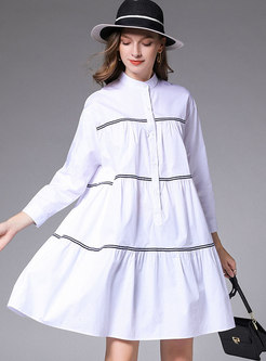 Mock Neck Striped Color-blocked T-shirt Dress