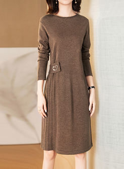 Crew Neck Long Sleeve Pleated Sweater Dress