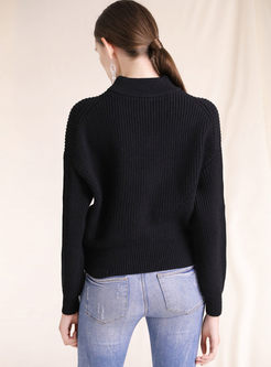 Solid Color Bat Sleeve Pullover Sweater