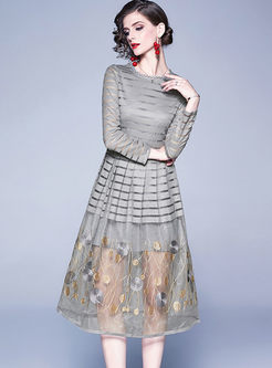 Long Sleeve Lace Embroidered Mesh Skater Dress