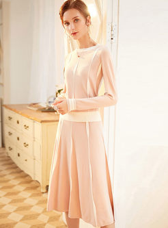 Pink Crew Neck A Line Sweater Suit Dress