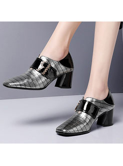 Square Head Plaid Leather Chunky Heel Shoes