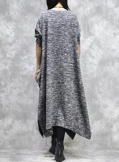 Crew Neck Long Sleeve Loose Sweater Dress