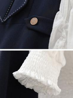 Mock Neck Long Sleeve Patchwork Mini Skater Dress