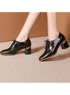 Chunky Heel Square Head Leather Shoes