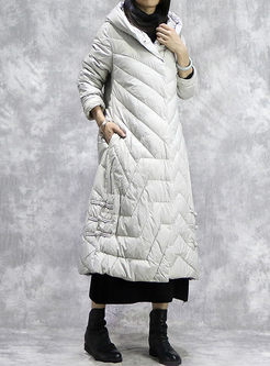 Hooded Long Embroidered Puffer Coat