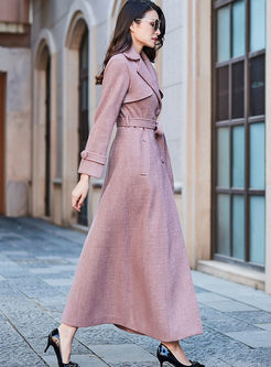 Solid Color Notched Long Wool Peacoat