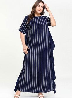 Plus Size Striped Straight Maxi Dress