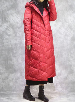 Hooded Embroidered Loose Long Puffer Coat