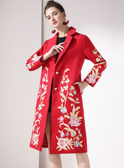 Notched Embroidered Loose Wool Blended Coat
