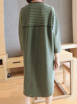 Crew Neck Long Sleeve Striped Sweater