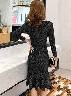 V-neck Long Sleeve Bodycon Peplum Dress