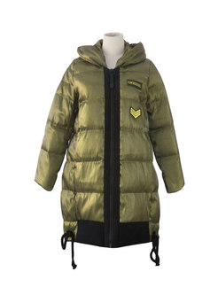 Hooded Straight Zipper Puffer Coat
