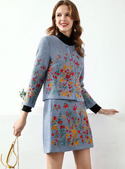 Crew Neck Embroidered Plaid Suit Dress