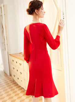 Solid Color Long Sleeve Bodycon Peplum Dress