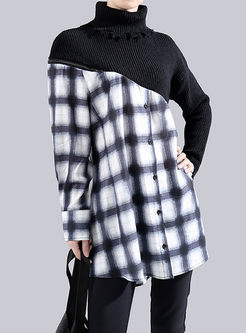 Black Turtleneck Knit Patchwork Plaid Blouse