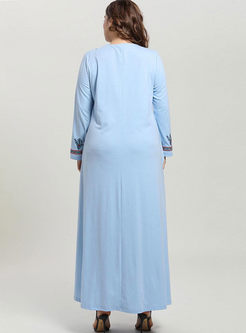 Plus Size Embroidered Long Sleeve Maxi Dress