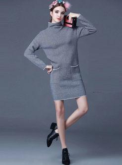 Turtleneck Long Sleeve Striped Sweater Dress
