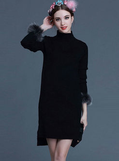 Solid Color Turtleneck Slit Sweater Dress