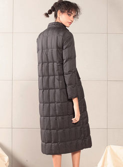Mock Neck Long Lightweight Puffer Coat