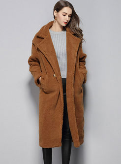 Solid Color Notched Cocoon Long Teddy Coat