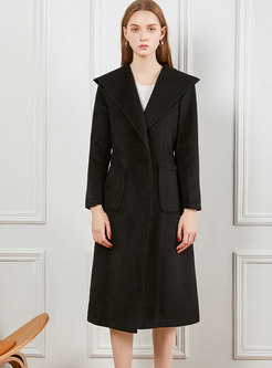 Solid Color Hooded Coat With Belt
