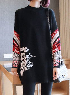 Black Print Pullover Asymmetric Sweater
