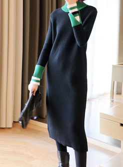 Color-blocked Long Sleeve Sweater Midi Dress