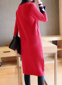 Color-blocked Long Sleeve Sweater Midi Dress