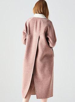 Loose Color-blocked Long Wool Peacoat