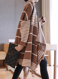 Striped Color-blocked Fringed Loose Cardigan