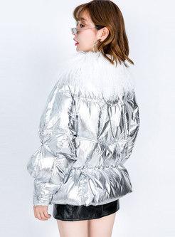 Fur Collar High Shine Short Puffer Coat