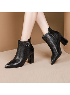 Thick Heel Pointed Head Short Plush Leather Boots